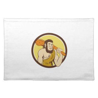 Neanderthal Man Holding Club Circle Cartoon Cloth Placemat