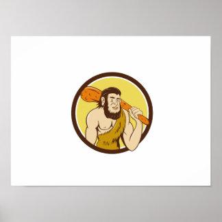 Neanderthal Man Holding Club Circle Cartoon Poster