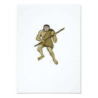 Neanderthal Man Holding Spear Etching 4.5x6.25 Paper Invitation Card