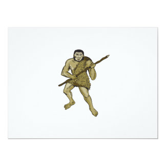 Neanderthal Man Holding Spear Etching 6.5x8.75 Paper Invitation Card