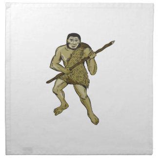 Neanderthal Man Holding Spear Etching Napkin