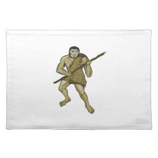 Neanderthal Man Holding Spear Etching Cloth Place Mat