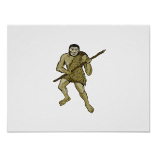 Neanderthal Man Holding Spear Etching Poster