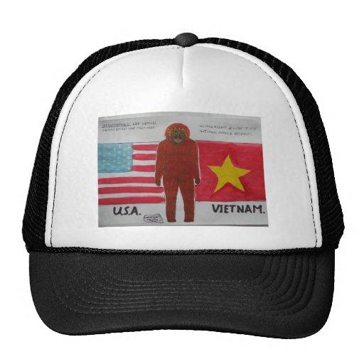 Neanderthal with U,S,A. & vietnam flag. Mesh Hats