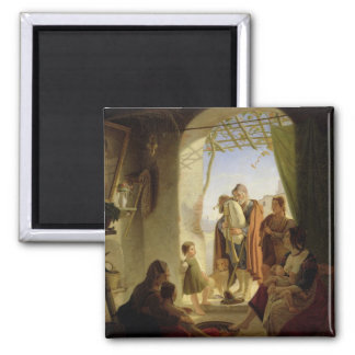 Neapolitan bagpipe player in wintry Rome, 1833 2 Inch Square Magnet