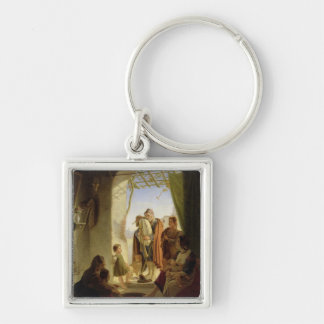 Neapolitan bagpipe player in wintry Rome, 1833 Silver-Colored Square Keychain