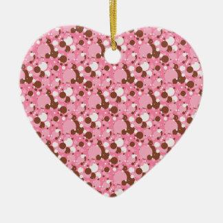 Neapolitan Dots 02 Pink Dark-HEART ORNAMENT