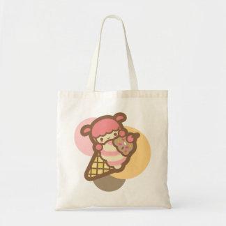 Neapolitan ice cream cone cherry cute kawaii pet budget tote bag