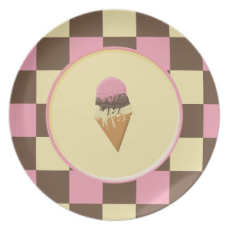 Neapolitan Ice Cream Cone Plates Customizable