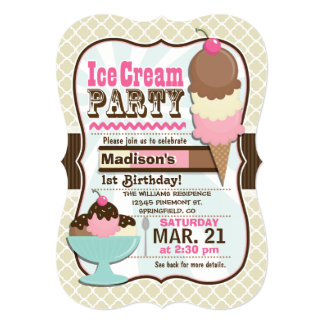"Neapolitan Ice Cream Kid's Birthday Party 5"" X 7"" Invitation Card"