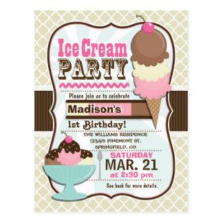 Neapolitan Ice Cream Kid's Birthday Party Postcard