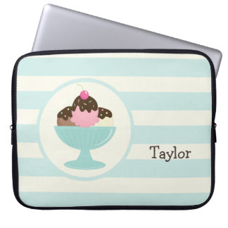 Neapolitan Ice Cream Sundae; Cherry & Sprinkles Laptop Computer Sleeves