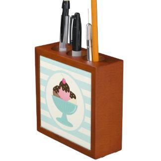 Neapolitan Ice Cream Sundae; Cherry & Sprinkles Pencil Holder