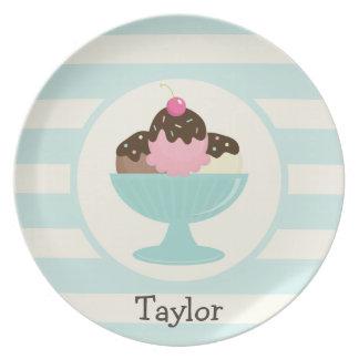 Neapolitan Ice Cream Sundae; Cherry & Sprinkles Party Plate