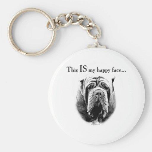 Neapolitan Mastiff Happy Face Keychain