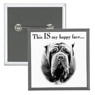 Neapolitan Mastiff Happy Face Pinback Button