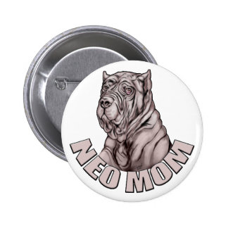 Neapolitan Mastiff Mom Black Pinback Button