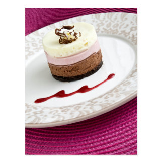 Neapolitan mousse dessert postcard