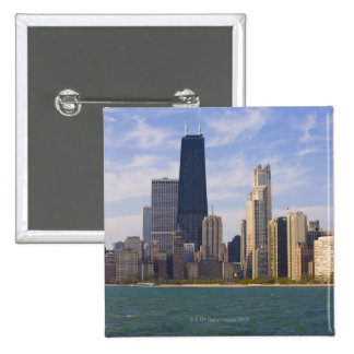 Near North city skyline and Hancock Tower from Pinback Button