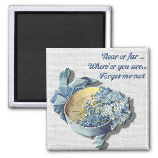 Near or Far Forget Me Not 2 Inch Square Magnet