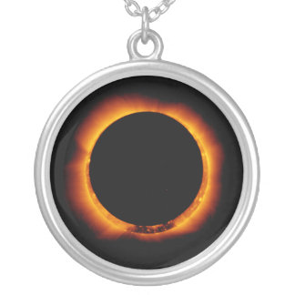 Near Total Solar Eclipse Silver Plated Necklace