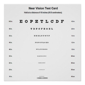 Near Vision Test Card Visual Acuity Exam Poster