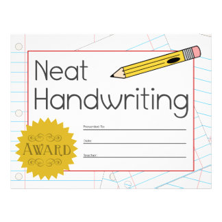 Neat Handwriting Award Certificate Letterhead