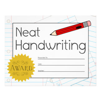 Neat Handwriting Award Certificate - Red Pencil Customized Letterhead