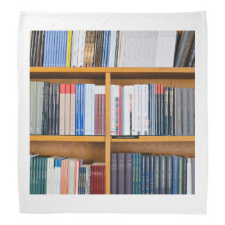 neatly set wooden  bookshelves bandana