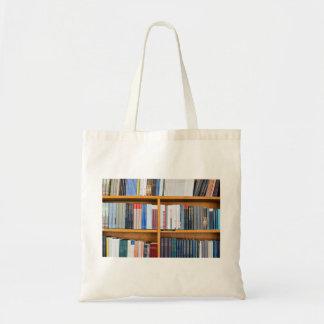 neatly set wooden  bookshelves tote bag