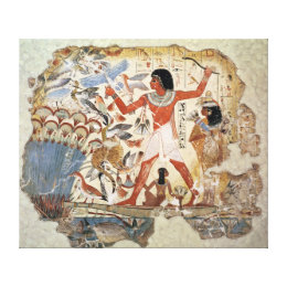 Nebamun hunting in the marshes with his wife canvas print
