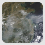 Neblina a través del llano de China del norte Calcomanía Cuadrada Personalizada