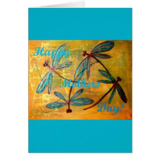 Neblina feliz de la libélula del día de madres tarjeta de felicitación