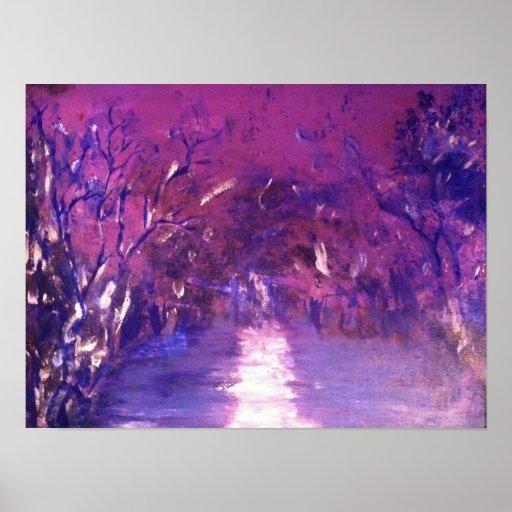 Neblina púrpura de árboles y de la pintura del agu posters