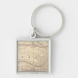 Nebraska 5 Silver-Colored square keychain
