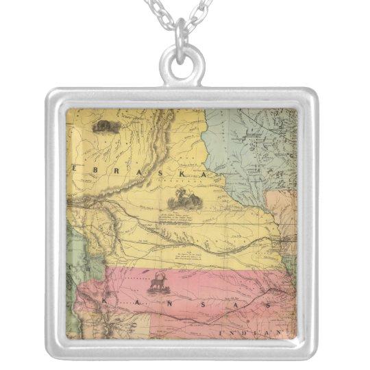 Nebraska and Kansas 2 Silver Plated Necklace