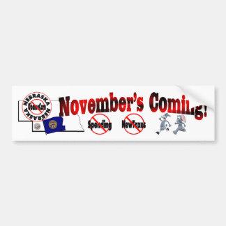 Nebraska Anti ObamaCare – November's Coming! Bumper Sticker