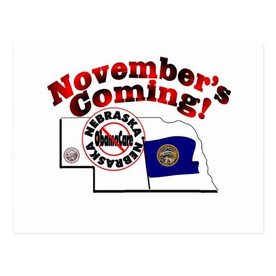 Nebraska Anti ObamaCare – November's Coming! Postcard