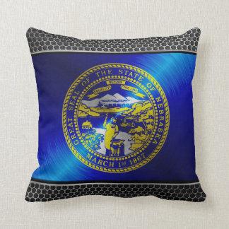 Nebraska brushed metal flag pillow