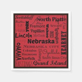Nebraska cities typography napkins