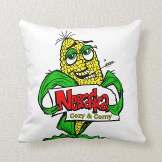 Nebraska corn cob cartoon throw pillow