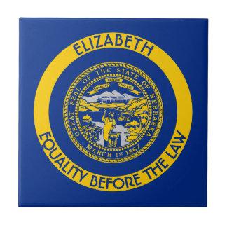 Nebraska Cornhusker State Personalized Flag Ceramic Tile