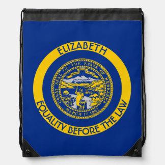 Nebraska Cornhusker State Personalized Flag Drawstring Bag
