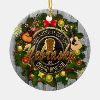 Nebraska Country Music Fan Christmas Ornament