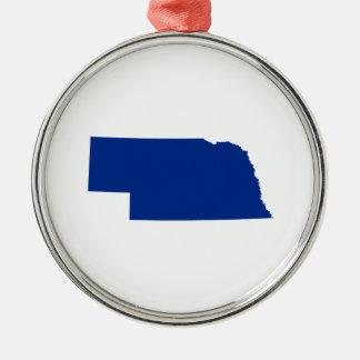 Nebraska en azul adorno redondo plateado