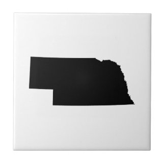 Nebraska en negro azulejo cuadrado pequeño