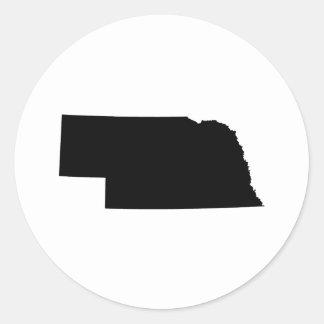 Nebraska en negro pegatina redonda