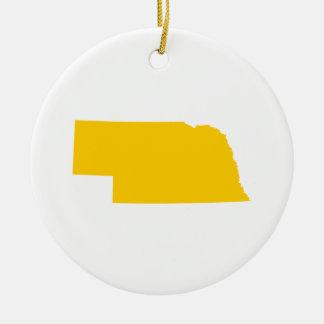 Nebraska en oro adorno redondo de cerámica