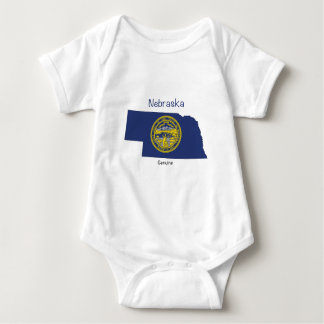 Nebraska Flag and Map Baby Bodysuit