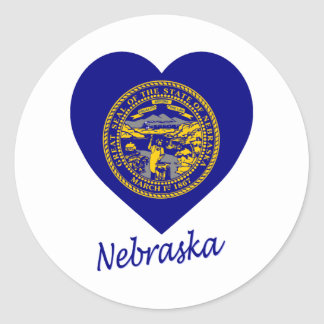 Nebraska Flag Heart Classic Round Sticker